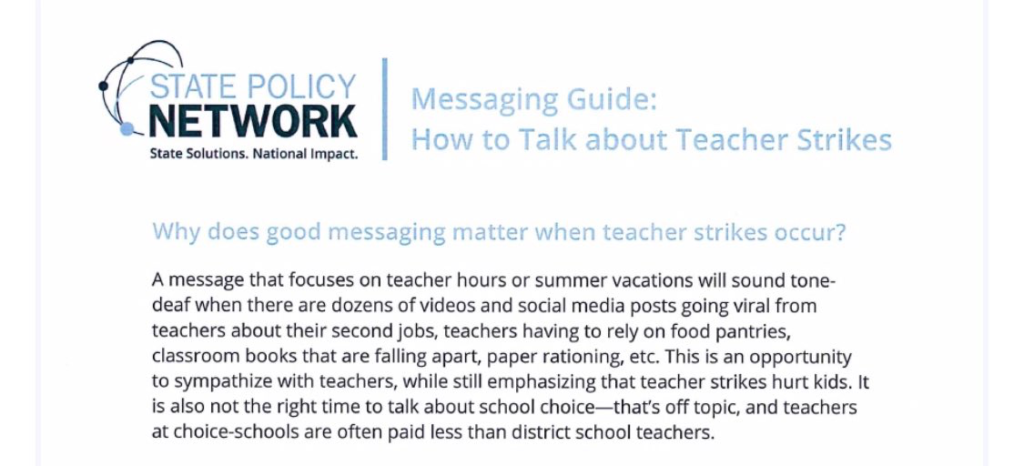 State Policy Network Messaging Guide: How to talk about teacher strikes.
