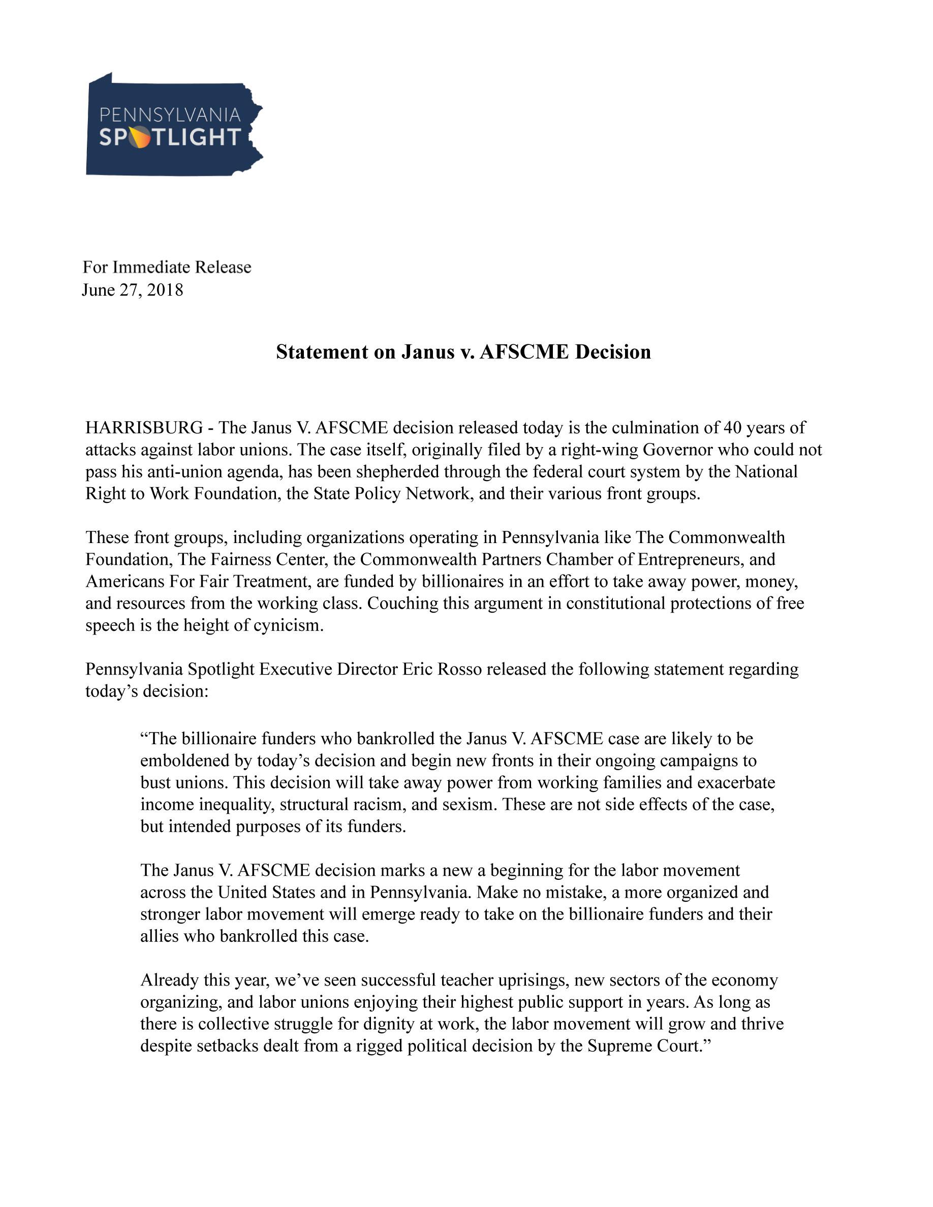 Statement on Janus v  AFSCME Decision | Pennsylvania Spotlight