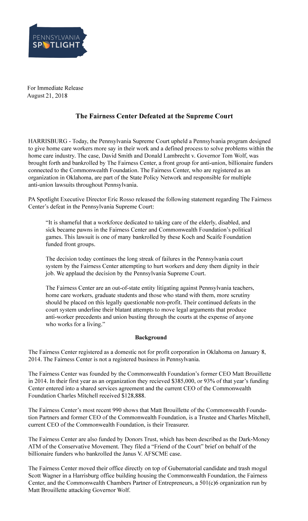 The Fairness Center Defeated at the Pennsylvania Supreme Court