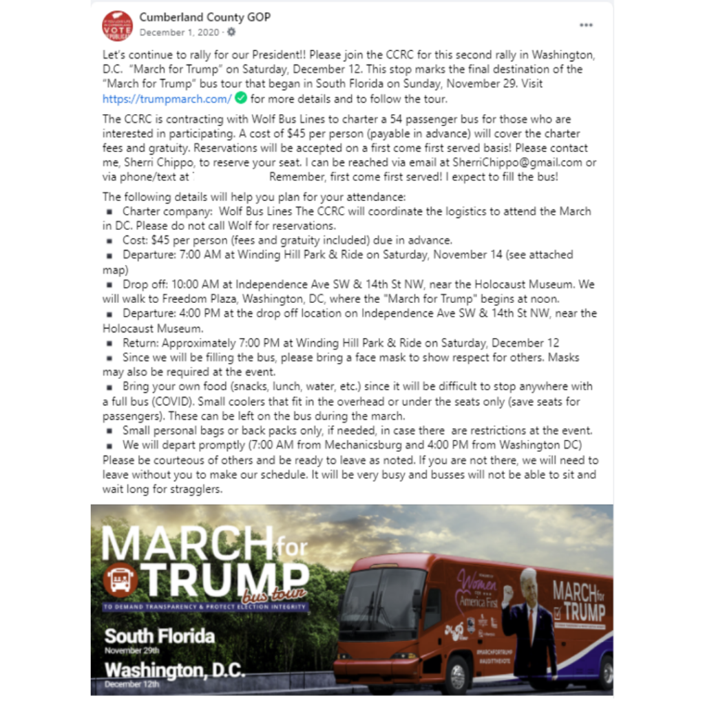 """Alt = """"Cumerland County GOP Facebook screenshot promoting March for Trump bus event"""""""