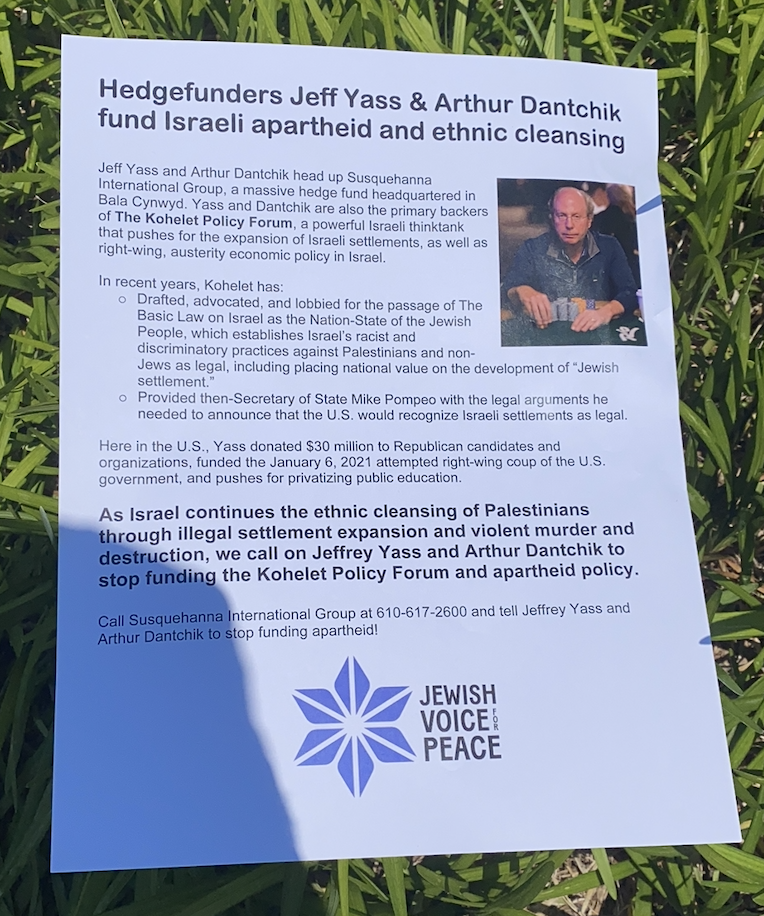 Flyer at Jewish Voices for Peace Protest